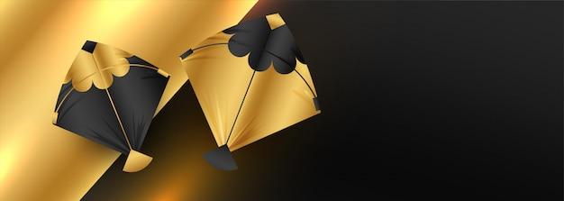 Diseño de banner de cometas doradas con espacio de texto