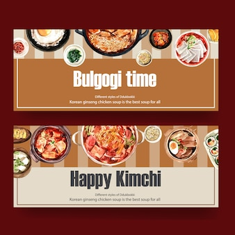 Diseño de banner de comida coreana con estofado de kimchi, tteokbokki, ilustración de acuarela de huevo