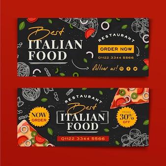 Diseño de banner de comida italiana dibujado a mano