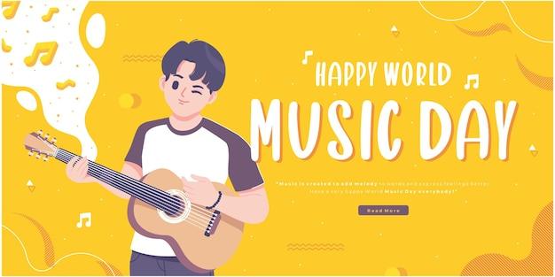 Diseño de banner de concepto de feliz día de la música