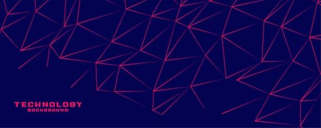 Diseño de banner de conexión de líneas de baja poli
