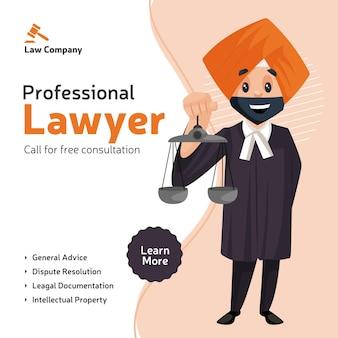El diseño de banner de consulta gratuita de abogado profesional con abogado de punjabi sostiene escalas de justicia en la mano