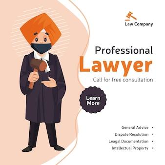El diseño de banner de consulta gratuita de abogado profesional con abogado de punjabi sostiene un martillo en la mano