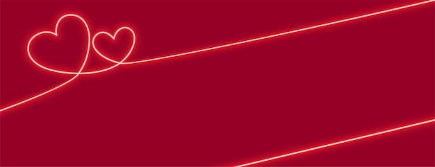 Diseño de banner de corazones de neón con espacio de texto