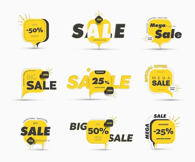 Diseño de banner cuadrado con esquinas redondeadas en la pierna para mega grandes rebajas y descuentos de temporada. plantillas de etiquetas amarillas con porcentajes y ofertas especiales de compra, trazos y elementos.