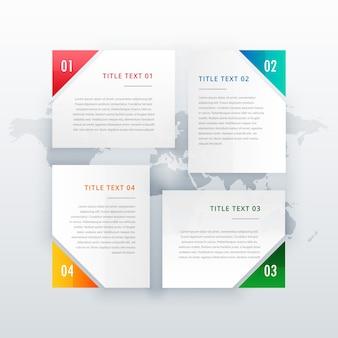 Diseño de banner de cuatro opciones con diferentes colores