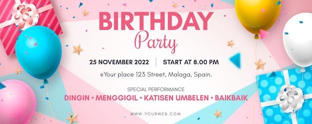 Diseño de banner de cumpleaños realista