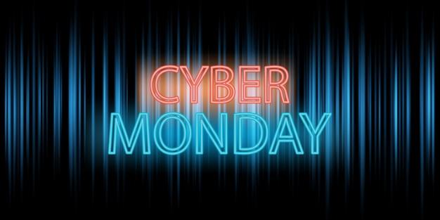 Diseño de banner de cyber monday con letras de neón