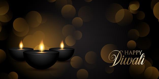 Diseño de banner decorativo de diwali con lámparas de aceite y luces bokeh