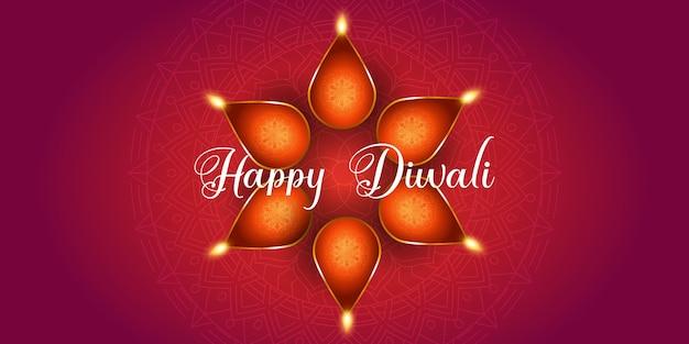 Diseño de banner decorativo para diwali con lámparas de aceite.
