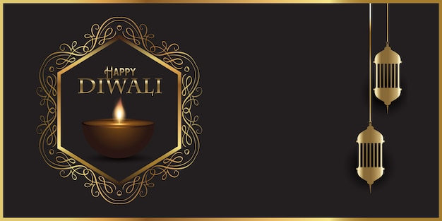 Diseño de banner decorativo para diwali con lámparas indias.