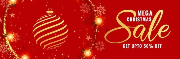 Diseño de banner decorativo mega navidad rojo.