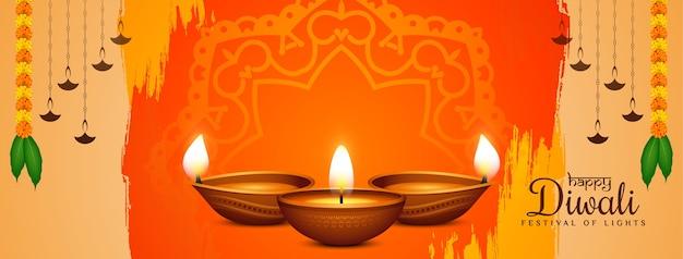 Diseño de banner decorativo tradicional festival happy diwali