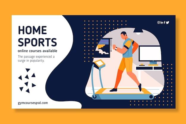 Diseño de banner de deporte en casa