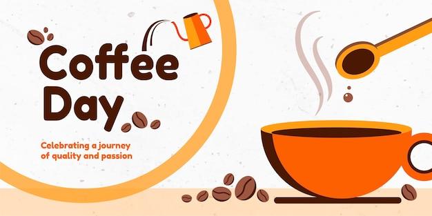 Diseño de banner del día del café
