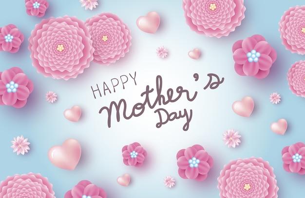 Diseño de banner de día de la madre de flores rosadas con corazón