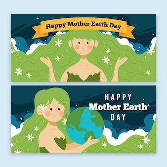 Diseño de banner del día de la madre tierra dibujado a mano