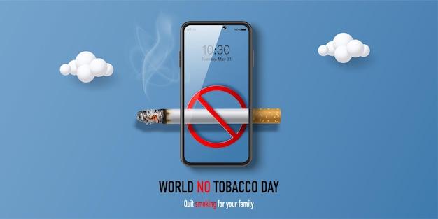 Diseño de banner del día mundial sin tabaco