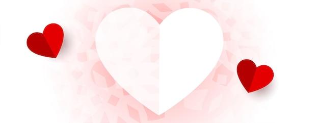 Diseño de banner de día de san valentín de corazones hermosos