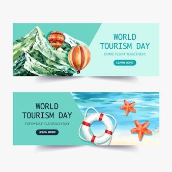 Diseño de banner de día de turismo con naturaleza, montaña, globo colorido, océano