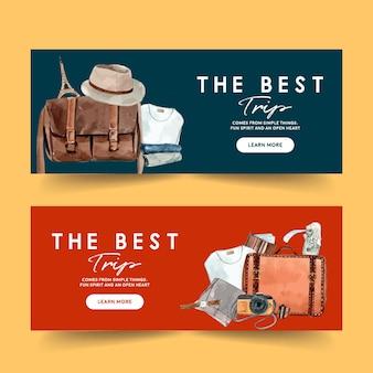 Diseño de banner del día del turismo con ropa, accesorios, gorro, reloj de pulsera.