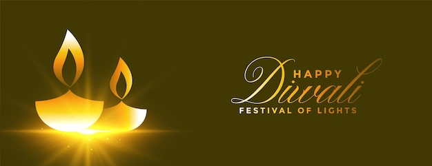 Diseño de banner de diya brillante dorado feliz diwali brillante