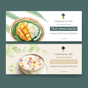 Diseño de banner dulce tailandés con arroz pegajoso, mango, bua loi ilustración acuarela.