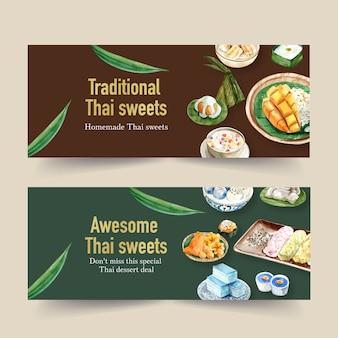 Diseño de banner dulce tailandés con arroz pegajoso, pudín ilustración acuarela.