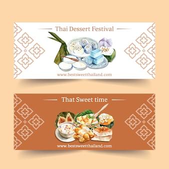Diseño de banner dulce tailandés con pudín tailandés, ilustración acuarela de jalea en capas.