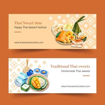 Diseño de banner dulce tailandés con varios ilustración de acuarela de postres.