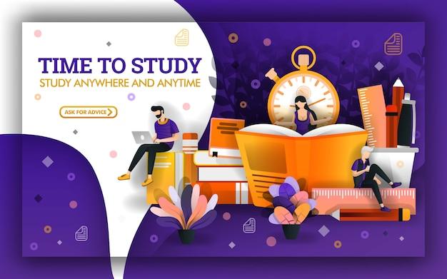 Diseño de banner para educación y tecnología de aprendizaje.