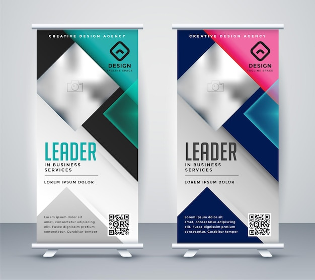 Diseño de banner enrollable para presentación de negocios.