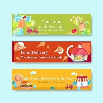 Diseño de banner de entrega con alimentos, vegetales, transporte y logística ilustración acuarela.