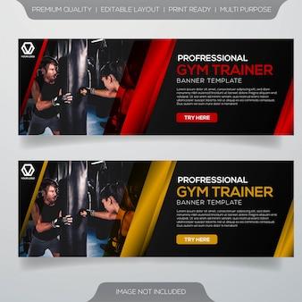 Diseño de banner de entrenador de gimnasio profesional