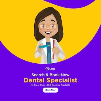 Diseño de banner de especialista dental con herramientas dentales en la mano