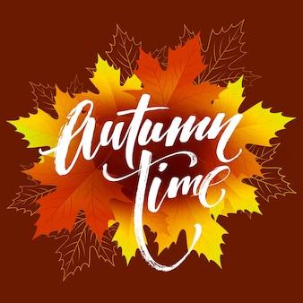 Diseño de banner estacional de tiempo de otoño. caída de la hoja. ilustración de vector eps10