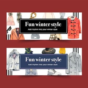 Diseño de banner de estilo de invierno con gorro de lana, bufanda, gafas, abrigo ilustración acuarela. vector gratuito