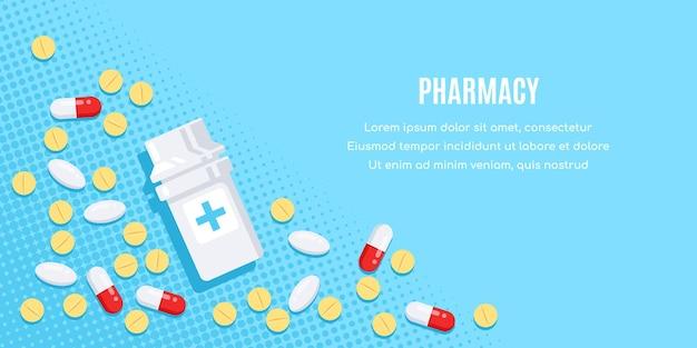 Diseño de banner de estilo plano con medicamentos. pastillas, cápsulas, medicamentos de analgésicos, antibióticos, vitaminas y frascos pequeños.