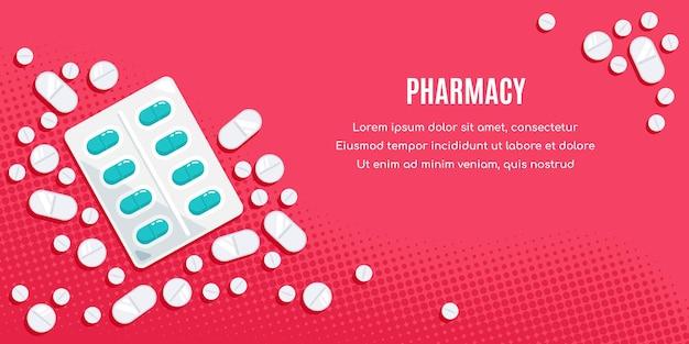 Diseño de banner de estilo plano con medicamentos. las pastillas, las cápsulas, el preparado de los analgésicos, los antibióticos, las vitaminas.