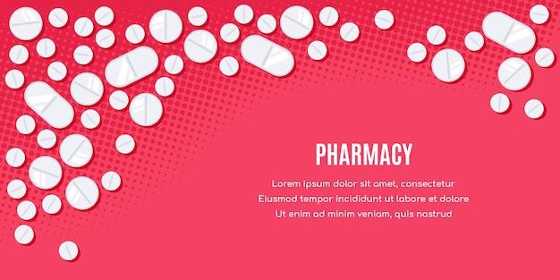 Diseño de banner de estilo plano con medicamentos. las pastillas, el preparado de los analgésicos, los antibióticos, las vitaminas.