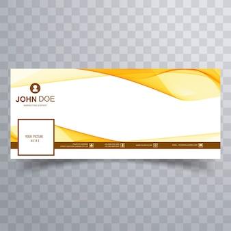 Diseño de banner de facebook de onda amarilla abstracta