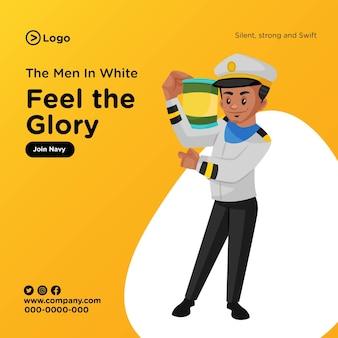 Diseño de banner de feel the glory únete a la marina en estilo de dibujos animados