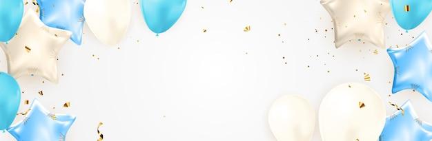 Diseño de banner de felicitaciones con confeti, globos y cinta de brillo brillante para fondo de fiesta. ilustración vectorial