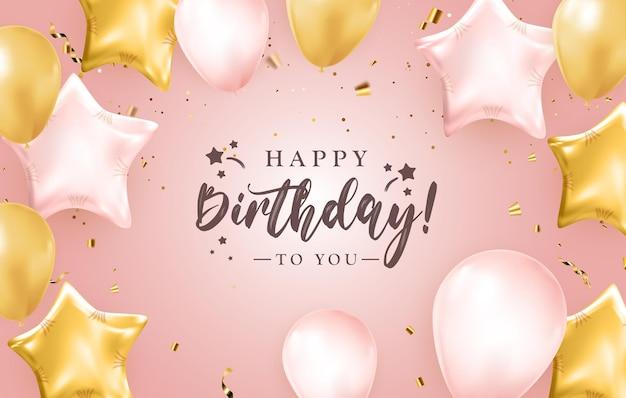 Diseño de banner de felicitaciones de feliz cumpleaños con confeti