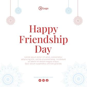 Diseño de banner de feliz día de la amistad ilustración de estilo de dibujos animados