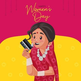 Diseño de banner de feliz día de la mujer con mujer india con tarjeta de cajero automático en la mano