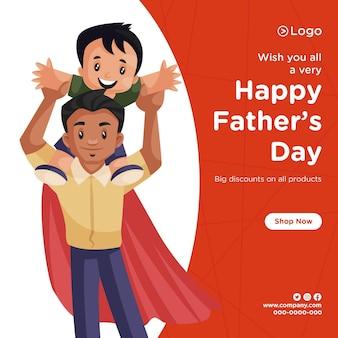 Diseño de banner de feliz día del padre con descuento en todos los productos.
