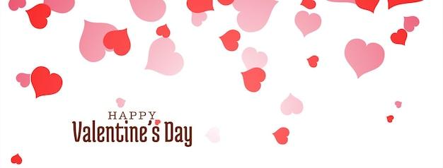 Diseño de banner de feliz día de san valentín con corazones