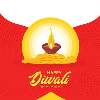 Diseño de banner de feliz diwali con lámpara y monedas.