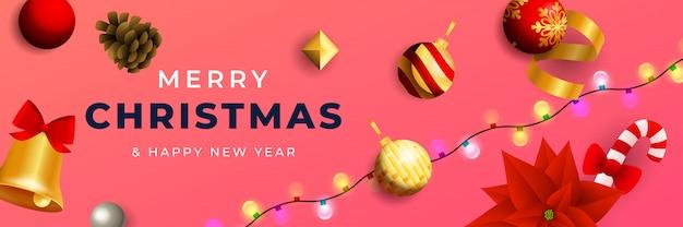 Diseño de banner de feliz navidad con bolas brillantes.